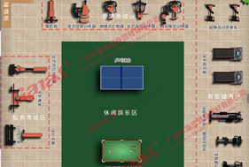 Kangyi fitness equipment manufacturers,  3D map layout of the gym .